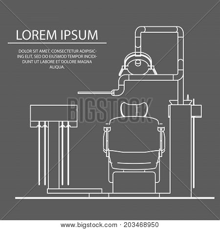 Vector illustration on the theme of dental flat style. The linear design. Dentist chair. Black-and-white illustrations. Vector. Chairman front view. Logo Dental Clinic. Banner. Flyers, Postcards