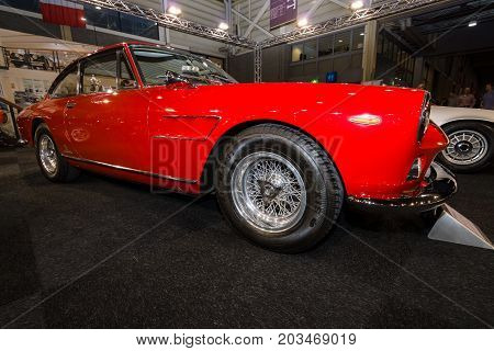 MAASTRICHT NETHERLANDS - JANUARY 09 2015: Sports car Ferrari 330GT 2+2 «Interim» 1965. International Exhibition InterClassics & Topmobiel 2015