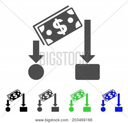 Cash Flow icon. Vector illustration style is a flat iconic cash flow symbol with black, grey, green, blue color variants. Designed for web and software interfaces.