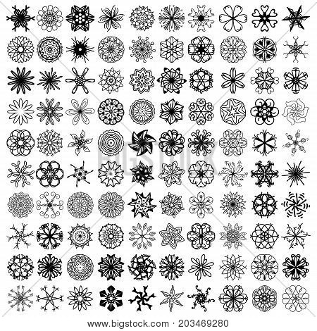 100 black symmetrical ornaments over white background