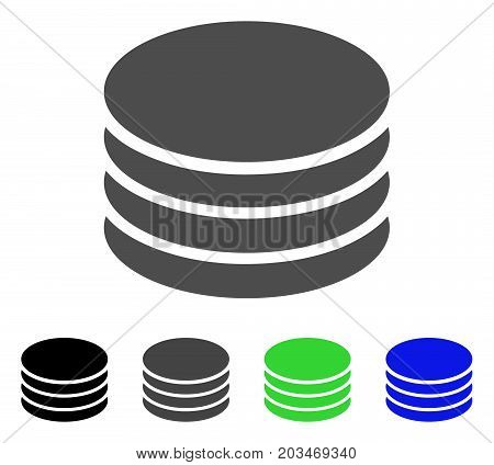 Coin Stack icon. Vector illustration style is a flat iconic coin stack symbol with black, grey, green, blue color versions. Designed for web and software interfaces.