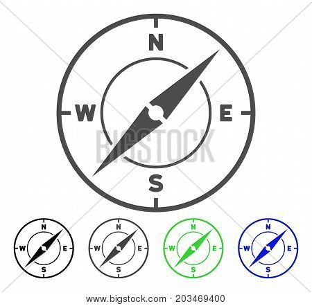 Compass icon. Vector illustration style is a flat iconic compass symbol with black, gray, green, blue color variants. Designed for web and software interfaces.