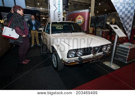MAASTRICHT NETHERLANDS - JANUARY 09 2015: An executive saloon car Alfa Romeo Alfetta 1980. International Exhibition InterClassics & Topmobiel 2015