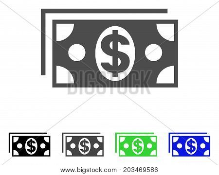 Dollar Banknotes icon. Vector illustration style is a flat iconic dollar banknotes symbol with black, gray, green, blue color variants. Designed for web and software interfaces.