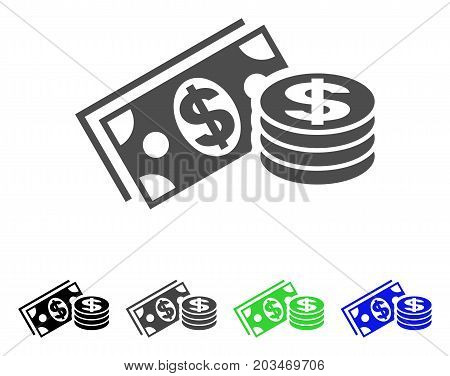 Dollar Cash icon. Vector illustration style is a flat iconic dollar cash symbol with black, gray, green, blue color variants. Designed for web and software interfaces.