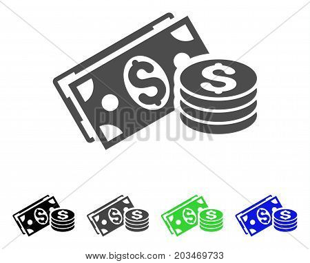 Dollar Cash icon. Vector illustration style is a flat iconic dollar cash symbol with black, grey, green, blue color variants. Designed for web and software interfaces.