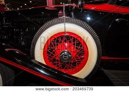 MAASTRICHT NETHERLANDS - JANUARY 09 2015: Fragment of a Auburn 8-100 Boattail Speedster Straight Eight 1931. International Exhibition InterClassics & Topmobiel 2015