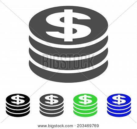 Dollar Coin Column icon. Vector illustration style is a flat iconic dollar coin column symbol with black, grey, green, blue color versions. Designed for web and software interfaces.