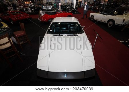 MAASTRICHT NETHERLANDS - JANUARY 09 2015: Sports car De Tomaso Pantera 1973. International Exhibition InterClassics & Topmobiel 2015