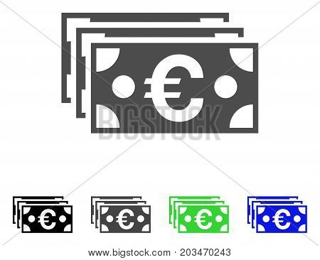 Euro Banknotes icon. Vector illustration style is a flat iconic euro banknotes symbol with black, grey, green, blue color variants. Designed for web and software interfaces.