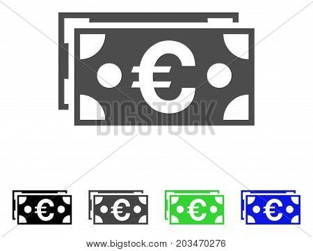 Euro Banknotes icon. Vector illustration style is a flat iconic euro banknotes symbol with black, gray, green, blue color versions. Designed for web and software interfaces.