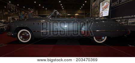 MAASTRICHT NETHERLANDS - JANUARY 09 2015: Full-size car Buick Super convertible (Third generation) 1949. International Exhibition InterClassics & Topmobiel 2015