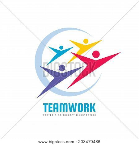 Teamwork vector logo template creative illustration. People group sign. Social media symbol. Friendship teamwork concept. Design elements