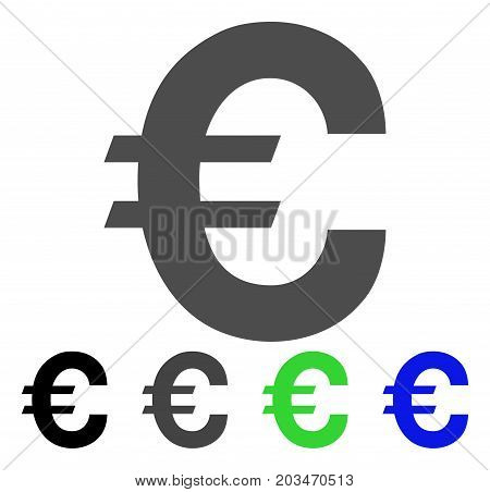 Euro Symbol icon. Vector illustration style is a flat iconic euro symbol symbol with black, gray, green, blue color versions. Designed for web and software interfaces.
