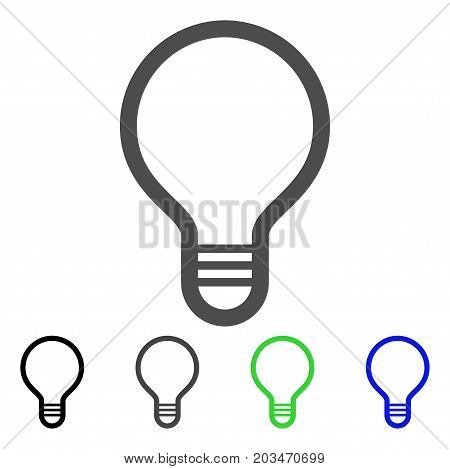 Lamp Bulb icon. Vector illustration style is a flat iconic lamp bulb symbol with black, grey, green, blue color versions. Designed for web and software interfaces.