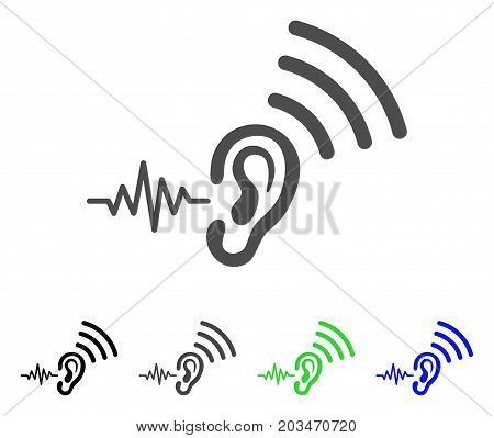 Listen And Transmit icon. Vector illustration style is a flat iconic listen and transmit symbol with black, grey, green, blue color versions. Designed for web and software interfaces.