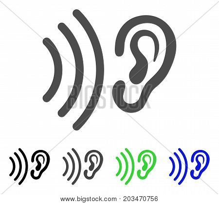 Listen icon. Vector illustration style is a flat iconic listen symbol with black, gray, green, blue color variants. Designed for web and software interfaces.