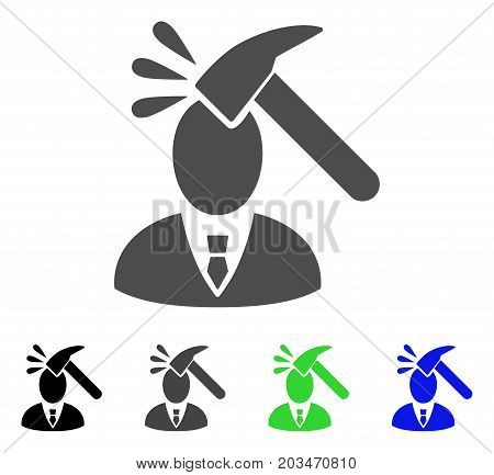 Manager Shock icon. Vector illustration style is a flat iconic manager shock symbol with black, gray, green, blue color variants. Designed for web and software interfaces.