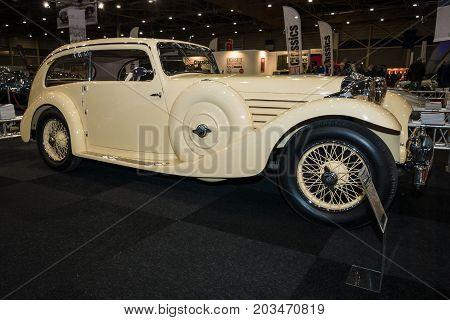 MAASTRICHT NETHERLANDS - JANUARY 09 2015: British two-door sports saloon Jaguar SS 1 Airline 1935. International Exhibition InterClassics & Topmobiel 2015