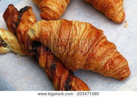 Freshly Baked Golden Croissants Close Up