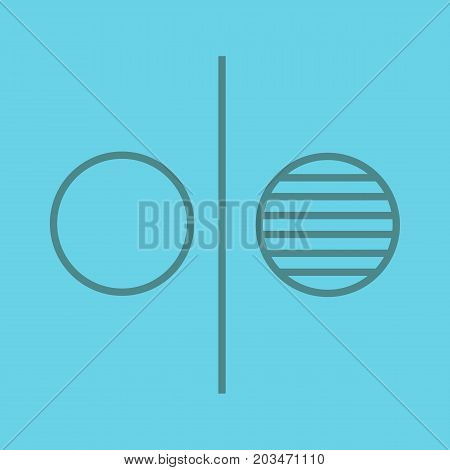 Opposite symbol color linear icon. Opponents abstract metaphor. Thin line outline symbols on color background. Vector illustration