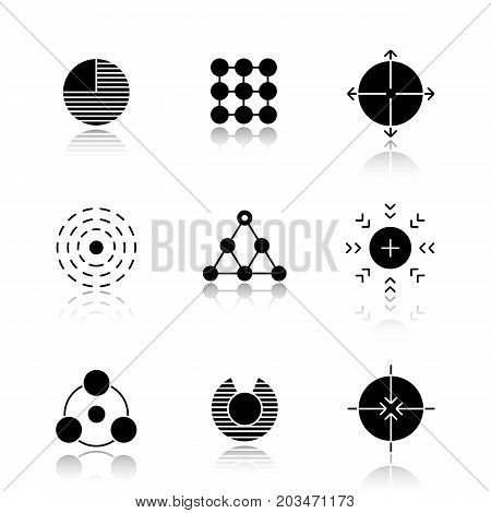 Abstract symbols drop shadow black icons set. Part, structure, expansion, influence, hierarchy, attraction, sharing, vulnerability, aiming concepts. Isolated vector illustrations