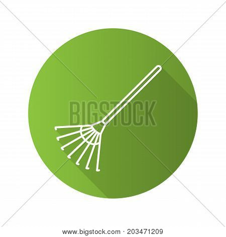 Rake flat linear long shadow icon. Vector outline symbol