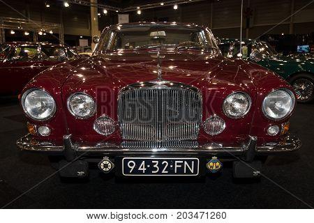 MAASTRICHT NETHERLANDS - JANUARY 09 2015: A sports saloon Jaguar 420G/Mark X 1968. International Exhibition InterClassics & Topmobiel 2015