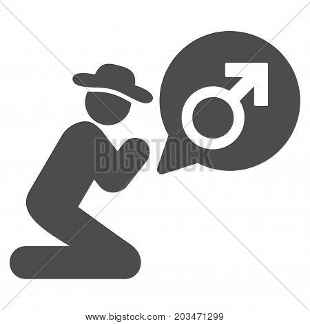 Gentleman Pray For Potence vector pictograph. Style is flat graphic grey symbol.