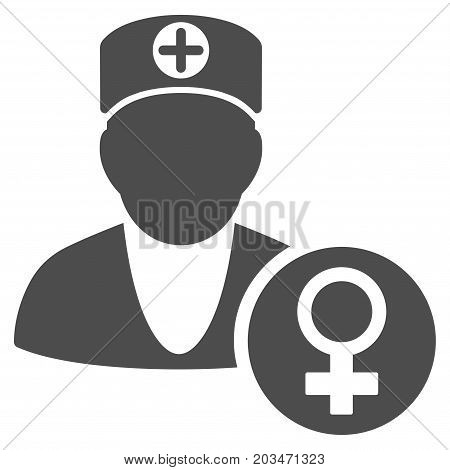 Gynecology Doctor vector pictograph. Style is flat graphic grey symbol.