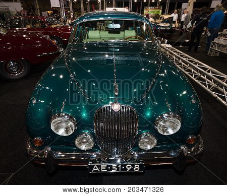 MAASTRICHT NETHERLANDS - JANUARY 09 2015: A sports saloon Jaguar Mk 2 County Prototype 1962. International Exhibition InterClassics & Topmobiel 2015
