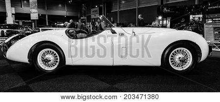 MAASTRICHT NETHERLANDS - JANUARY 09 2015: A sports car Jaguar XK120