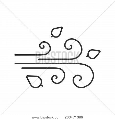 Wind blowing linear icon. Windiness thin line illustration. Windy weather. Autumn season contour symbol. Weather condition. Vector isolated outline drawing