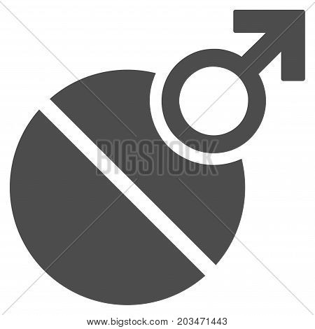 Male Erection Tablet vector pictogram. Style is flat graphic grey symbol.