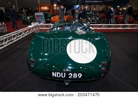 MAASTRICHT NETHERLANDS - JANUARY 09 2015: A racing sports car Jaguar C-Type