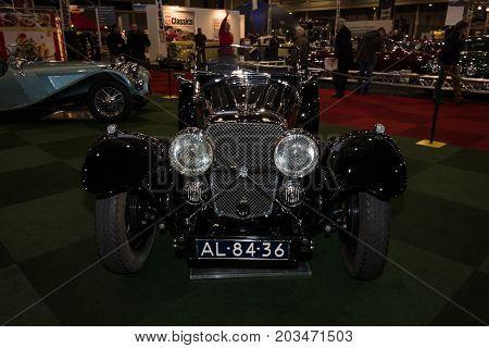 MAASTRICHT NETHERLANDS - JANUARY 09 2015: A sports car Jaguar SS90 Competition 1935 (total production 23 cars). International Exhibition InterClassics & Topmobiel 2015