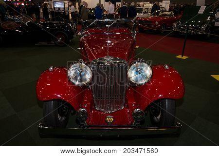 MAASTRICHT NETHERLANDS - JANUARY 09 2015: A sports car Jaguar SS1 Tourer 1934. International Exhibition InterClassics & Topmobiel 2015