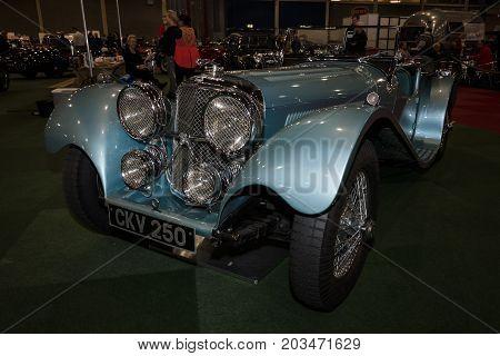 MAASTRICHT NETHERLANDS - JANUARY 09 2015: A sports car Jaguar SS100 3.5 1937. International Exhibition InterClassics & Topmobiel 2015