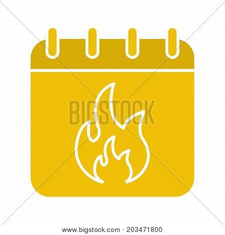 Deadline date glyph color icon. Calendar page with burning fire. Silhouette symbol on black background. Negative space. Vector illustration