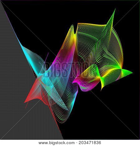rainbow spirographic abstract pattern on a black-and-gray background