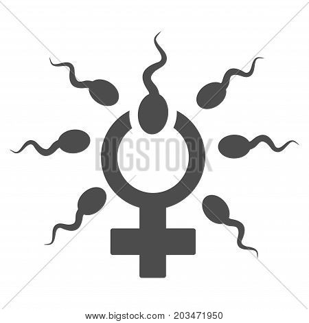 Sperm Penetration vector pictograph. Style is flat graphic gray symbol.