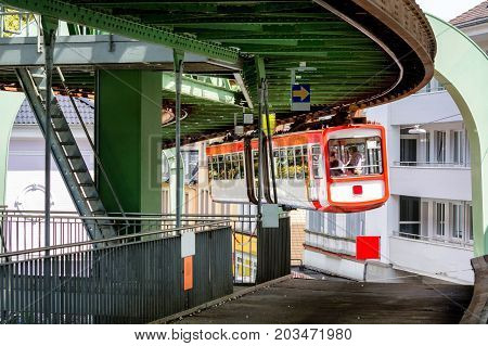 The suspension railway in Wuppertal is an elevated railway station for public passenger transport at the entrance to the station.