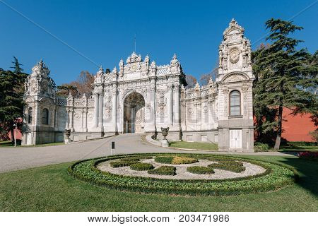 Istanbul Turkey. Exterior shot of Gate of The Sultan at Dolmabahce Palace. The Palace served as the main administrative center of the Ottoman Empire from 1856 to 1922