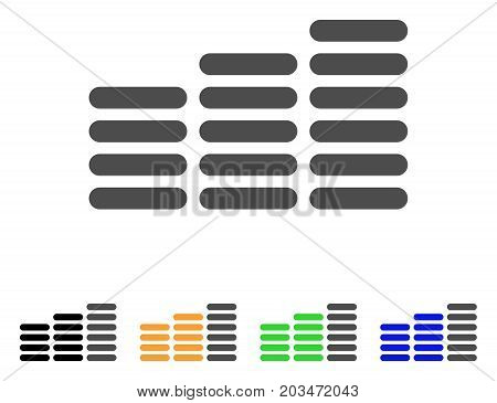 Coin Columns icon. Vector illustration style is a flat iconic coin columns symbol with black, grey, green, blue, yellow color variants. Designed for web and software interfaces.