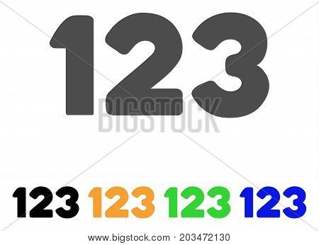 Digits icon. Vector illustration style is a flat iconic digits symbol with black, gray, green, blue, yellow color versions. Designed for web and software interfaces.