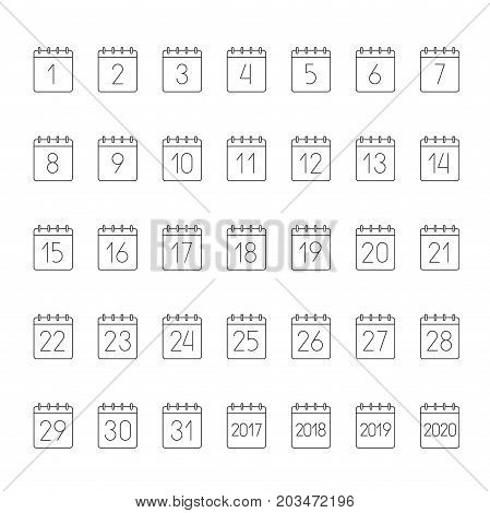 Month calendar linear icons set. Dates. Days of months Thin line contour symbols. 2017, 2018, 2019, 2020 yearly calendars. Isolated vector outline illustrations. Editable stroke
