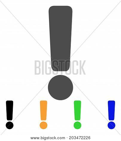 Exclamation Sign icon. Vector illustration style is a flat iconic exclamation sign symbol with black, gray, green, blue, yellow color variants. Designed for web and software interfaces.