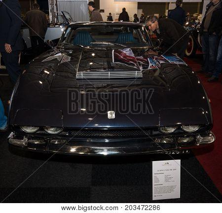 MAASTRICHT NETHERLANDS - JANUARY 08 2015: An Italian grand tourer automobile Iso Grifo 1973. International Exhibition InterClassics & Topmobiel 2015