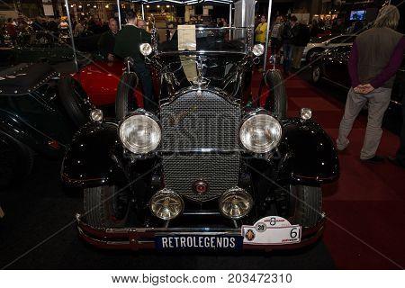 MAASTRICHT NETHERLANDS - JANUARY 08 2015: Oldtimer Packard 845 Boatteil Roadster by Bohman & Schwartz 1931. International Exhibition InterClassics & Topmobiel 2015
