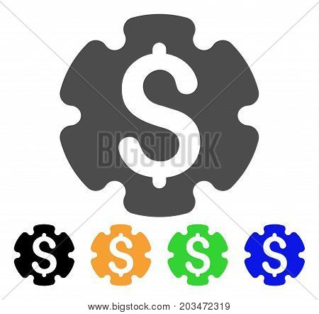 Financial Settings Gear icon. Vector illustration style is a flat iconic financial settings gear symbol with black, grey, green, blue, yellow color variants. Designed for web and software interfaces.